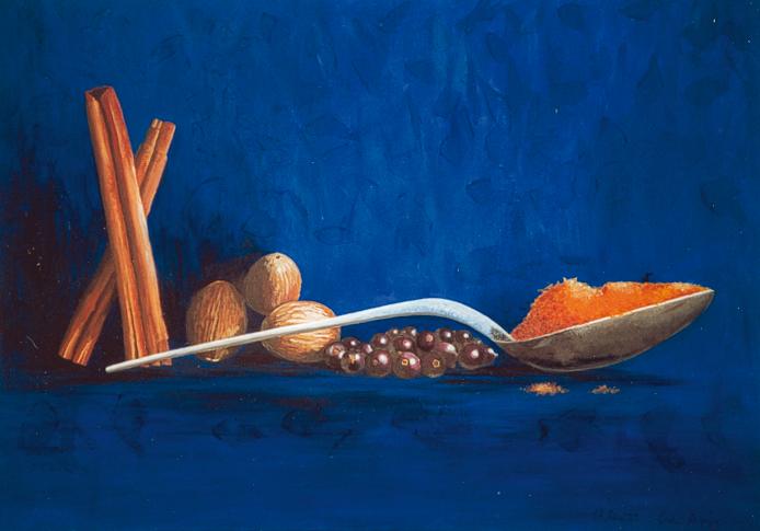 Grafikbuero-Thenhausen-blaues Acrylbild mit Gewürzen und Löffel