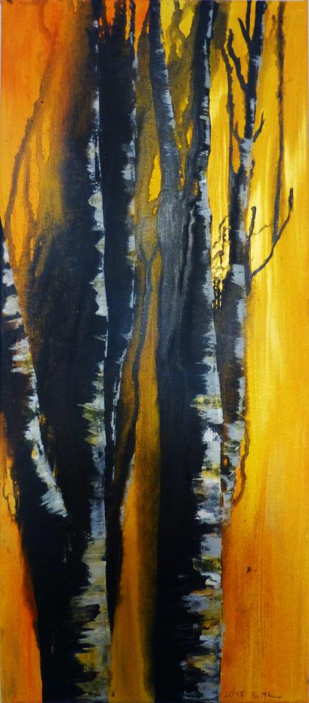 Birken, Acryl auf Leinwand, 30 x 70 cm