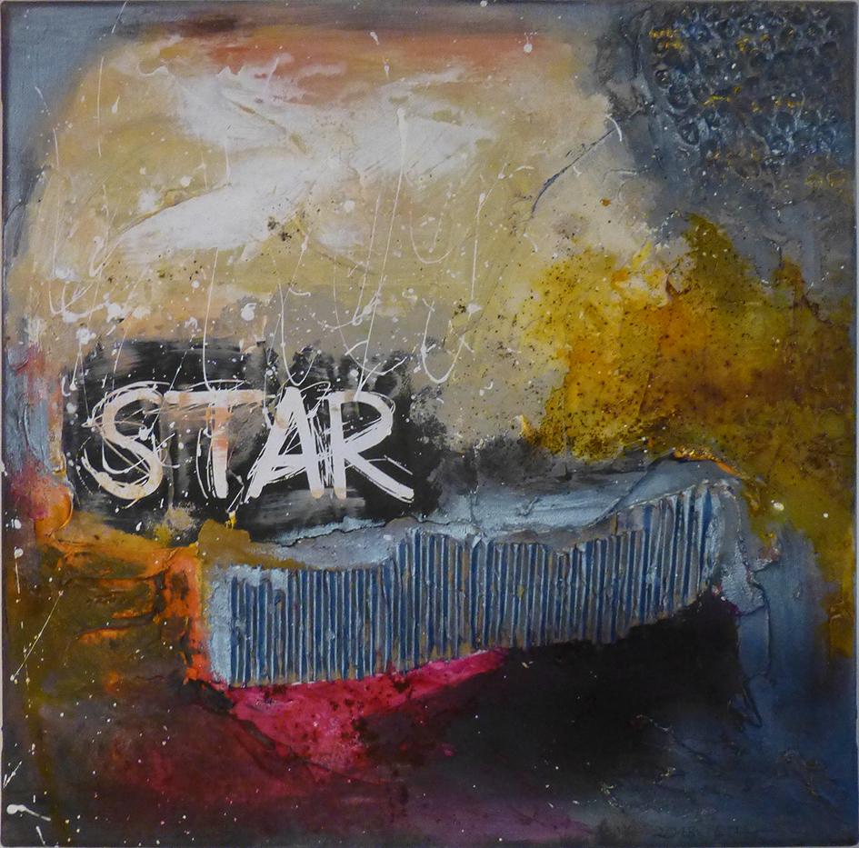 """Star"", MixedMedia auf Leinwand, 40 x 40 cm"